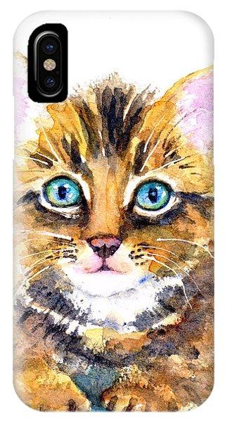 Watercolor Pet Portraits iPhone Case - Tabby Kitten Watercolor by Carlin Blahnik CarlinArtWatercolor