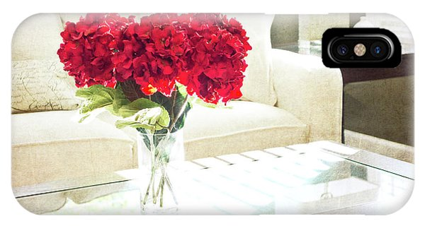 Table With Red Flowers IPhone Case