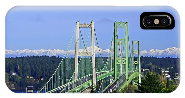 Tacoma Narrows Bridge With Olympic Mountains IPhone Case