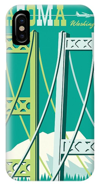 1960s iPhone Case - Tacoma Poster - Vintage Style Travel  by Jim Zahniser