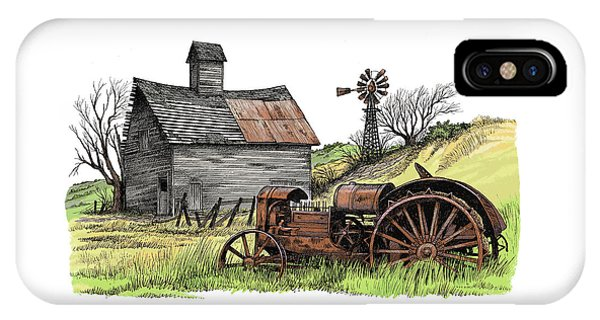 Pen And Ink Of Barn iPhone Case - Tailend Of Hard Tmes by Dave Olson