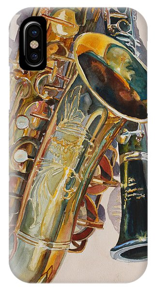 Saxophone iPhone Case - Taking A Shine To Each Other by Jenny Armitage