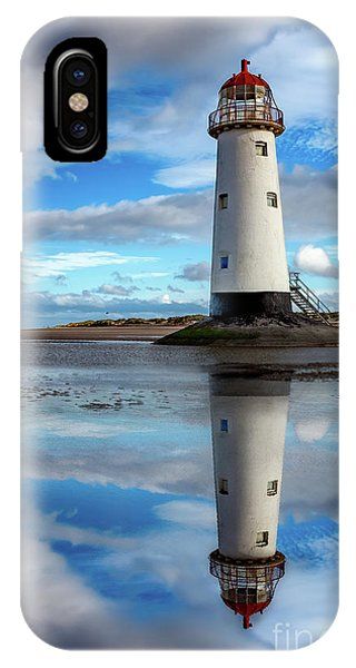 Navigation iPhone Case - Talacre Lighthouse Reflection by Adrian Evans