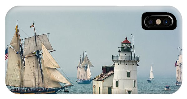 Tall Ships At Cleveland Lighthouse IPhone Case
