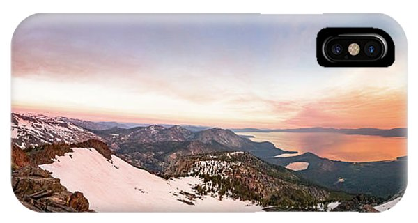 Rocky Mountain iPhone Case - Tallac View Of A Tahoe Desolation Sun Moon Alignment by Mike Herron