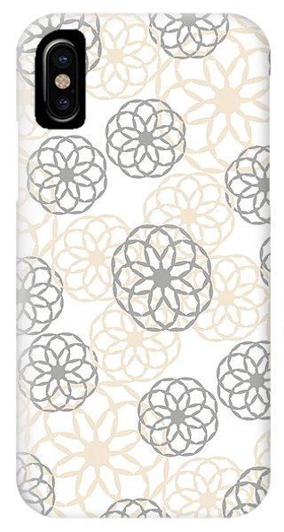 Tan And Silver Floral Pattern IPhone Case