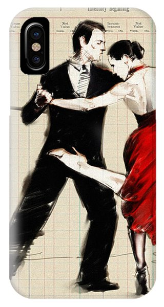 Tango iPhone Case - Tango In Black And Red by H James Hoff
