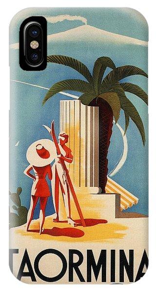 Advertising iPhone Case - Taormina, Sicily, Italy - Couples - Retro Travel Poster - Vintage Poster by Studio Grafiikka