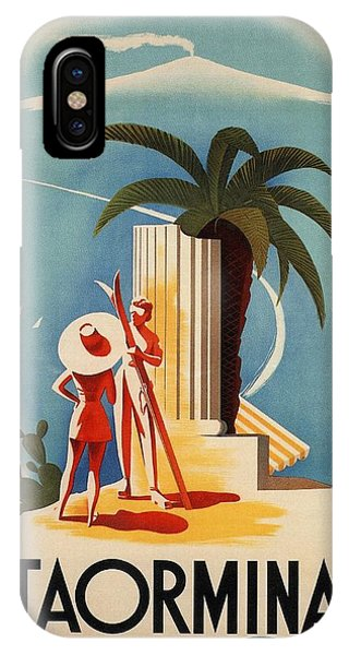 Taormina, Sicily, Italy - Couples - Retro Travel Poster - Vintage Poster IPhone Case