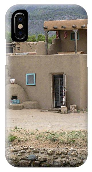 Taos Pueblo Adobe House With Pots IPhone Case