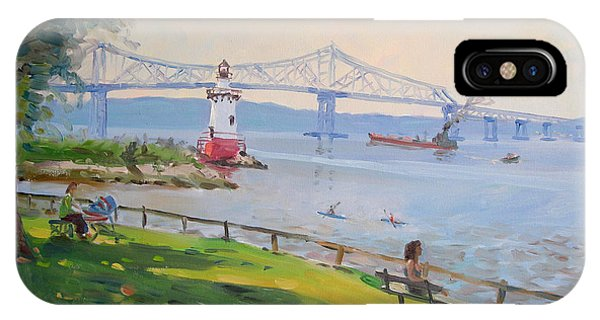 Hudson River iPhone Case - Tappan Zee Bridge And Light House by Ylli Haruni