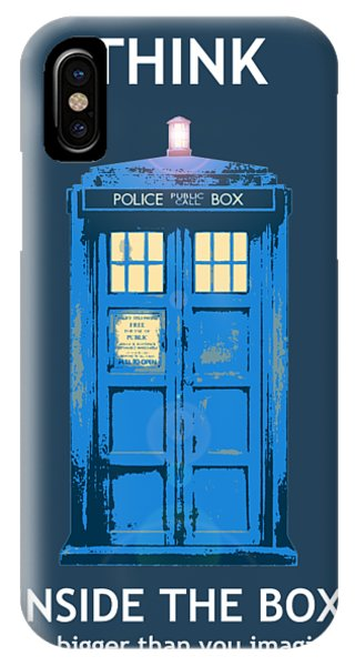 Inside iPhone Case - Tardis - Think Inside The Box by Richard Reeve