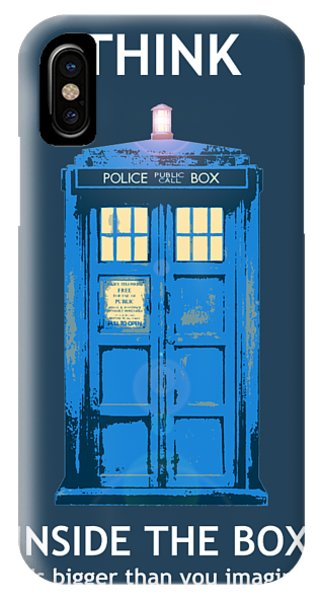IPhone Case featuring the digital art Tardis - Think Inside The Box by Richard Reeve