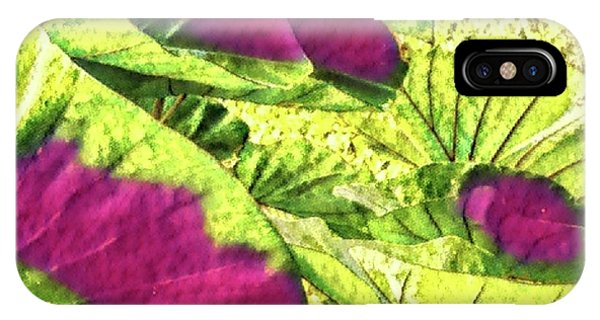 Taro Leaves In Green And Red IPhone Case