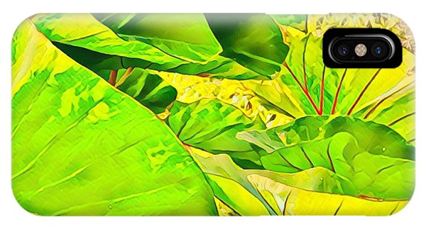 Taro Leaves In Green IPhone Case