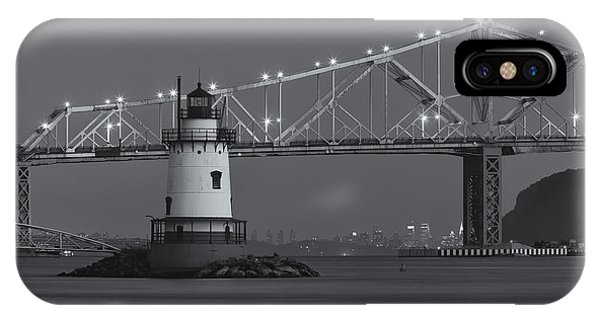 Tarrytown Lighthouse And Tappan Zee Bridge At Twilight II IPhone Case