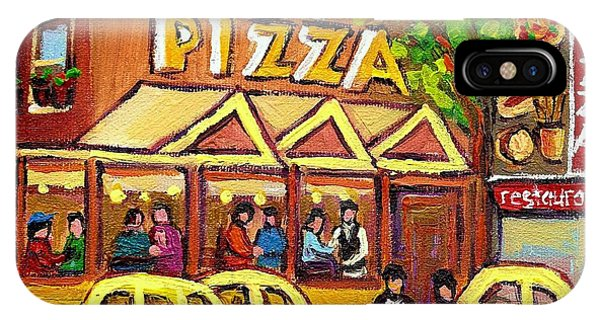 China Town iPhone Case - Tasty Food Pizza On Decarie Blvd by Carole Spandau