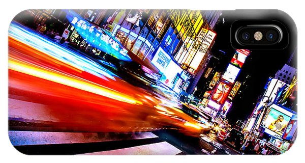 Middle iPhone Case - Taxis In Times Square by Az Jackson