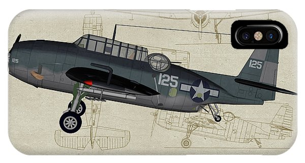 Uss Hornet iPhone Case - Tbm-3 Avenger Profile Art by Tommy Anderson