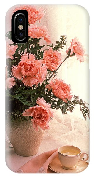 Saucer iPhone Case - Tea Cup With Pink Carnations by Garry Gay
