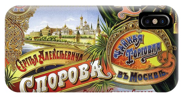 Advertising iPhone Case - Tea From Sergey Alekseevich Sporov's Moscow Trading House - Vintage Russian Advertising Poster by Studio Grafiikka