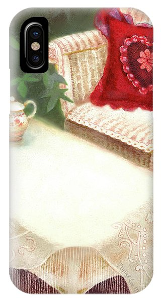 IPhone Case featuring the painting Tea In A Victorian Cottage Garden by Nancy Lee Moran