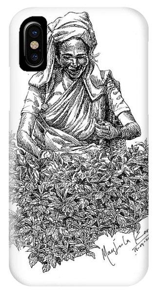 Pen And Ink Drawings For Sale iPhone Case -  Tea Picker by Manjula Karunathilaka