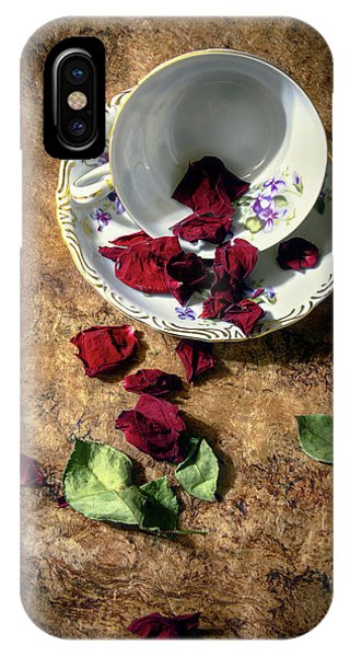 Teacup And Red Rose Petals IPhone Case
