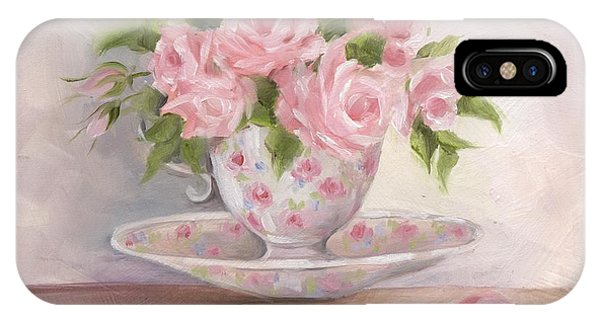 Teacup And Saucer Rose Shabby Chic Painting IPhone Case