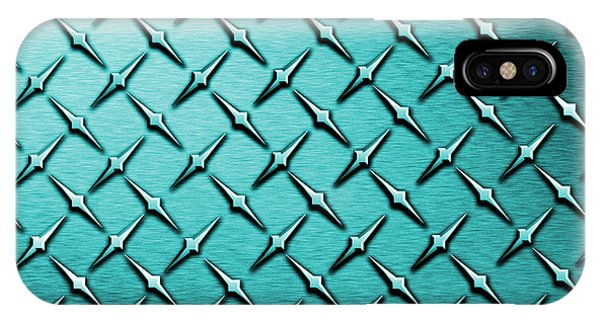 Fashion Plate iPhone Case - Teal Diamond Plate  by Mark Moore