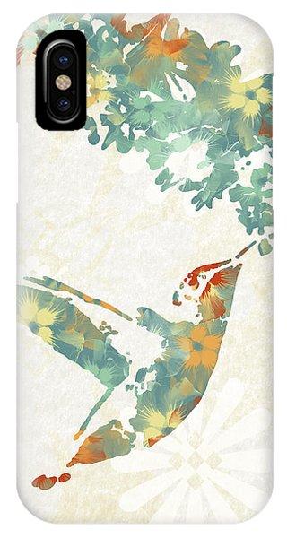 Floral Hummingbird Art IPhone Case