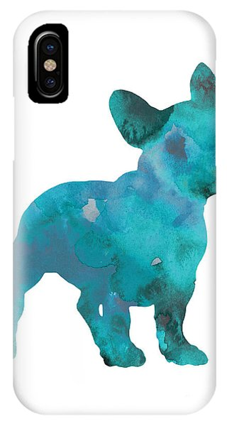 Dog iPhone X Case - Teal Frenchie Abstract Painting by Joanna Szmerdt