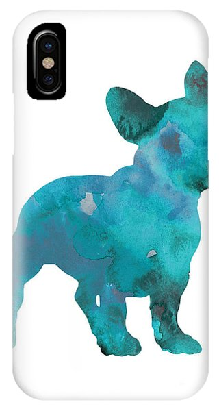 France iPhone Case - Teal Frenchie Abstract Painting by Joanna Szmerdt
