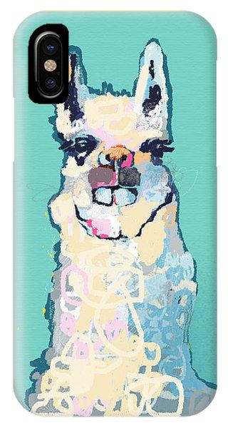 Llama iPhone Case - Teal Llama by Niya Christine