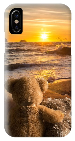 Sun Set iPhone Case - Teddies Watching The Sunset by Amanda Elwell