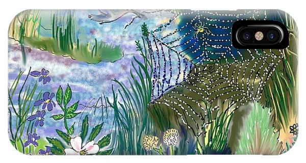 Teen Drawing -- Hummingbird Collecting Silk IPhone Case