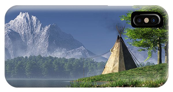 IPhone Case featuring the digital art Teepee By A Lake by Daniel Eskridge