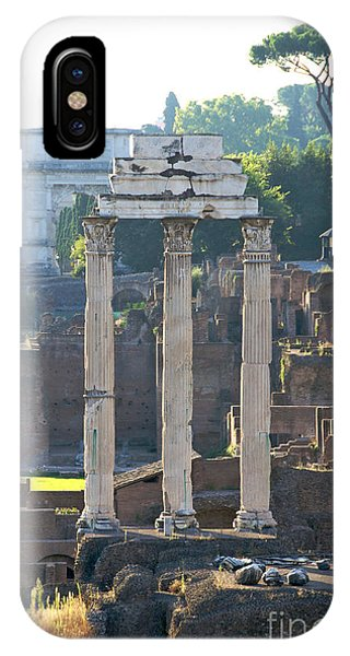 Ancient Rome iPhone Case - Temple Of Vesta Arch Of Titus. Temple Of Castor And Pollux. Forum Romanum by Bernard Jaubert