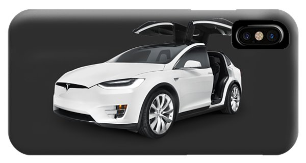 Tesla Model X Luxury Suv Electric Car With Open Falcon-wing Doors Art Photo Print IPhone Case