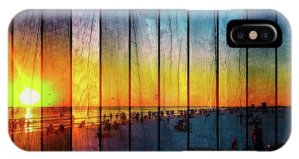 Siesta Key Drum Circle Sunset - Wood Plank Look IPhone Case