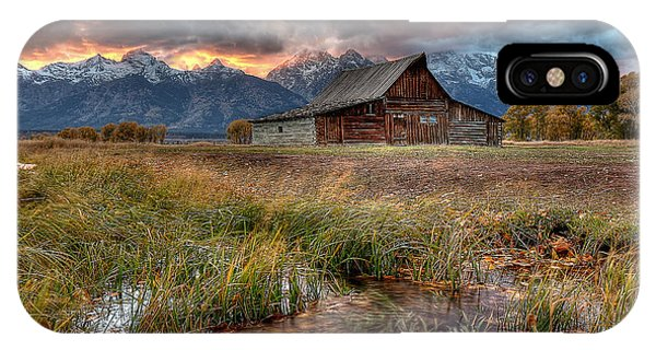 Teton iPhone Case - Teton Nightfire At The Ta Moulton Barn by Ryan Smith