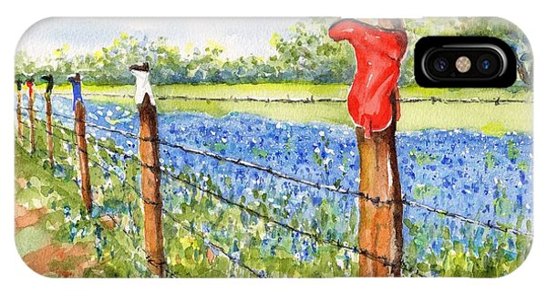 Texas Bluebonnets Boot Fence IPhone Case