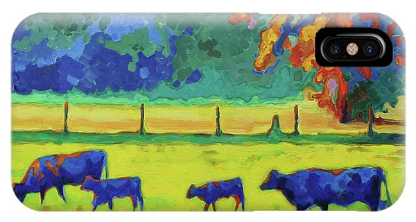 Texas Cows And Calves At Sunset Painting T Bertram Poole IPhone Case