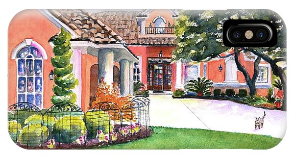 Watercolor Pet Portraits iPhone Case - Texas Home Spanish Tuscan Architecture  by Carlin Blahnik CarlinArtWatercolor
