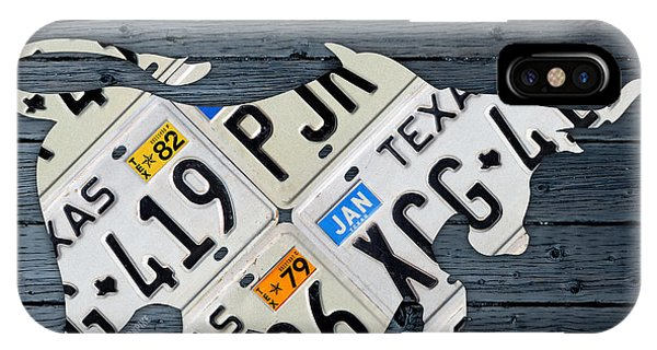 Texas Longhorn Vintage License Plate Art On Blue Gray Barn Wood IPhone Case