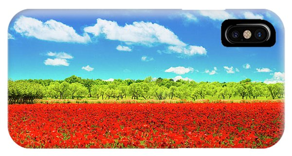 Texas Red Poppies IPhone Case