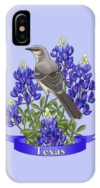 Mockingbird iPhone Case - Texas State Mockingbird And Bluebonnet Flower by Crista Forest