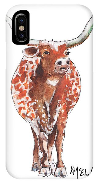 Texas Longhorn Taking The Lead Watercolor Painting By Kmcelwaine IPhone Case