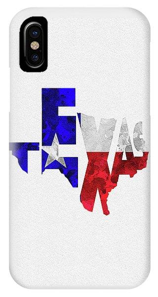 Texas Typographic Map Flag IPhone Case