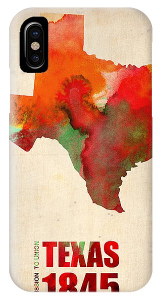 University iPhone Case - Texas Watercolor Map by Naxart Studio